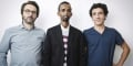 De gauche a droite: Simon Rochepeau (scénariste), Mohamed Mahamoud (ex-pirate), Thomas Azuélos (dessinateur).