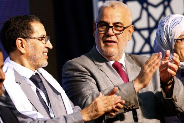 Le chef du gouvernement marocain Saadeddine El Othmani (g.) et son prédécesseur Abdelilah Benkirane lors d'un meeting pour les législatives en septembre 2016.