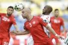 Le joueur tunisien Aymen Abdennour lors d'un match contre le Burkina Faso pendant la CAN 2017.
