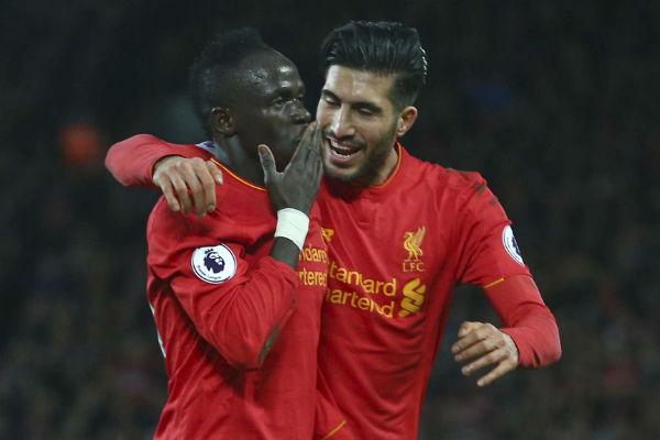 Sadio Mané après avoir marqué son dexuième but pour Liverpool face à Arsenal, en mars 2017.