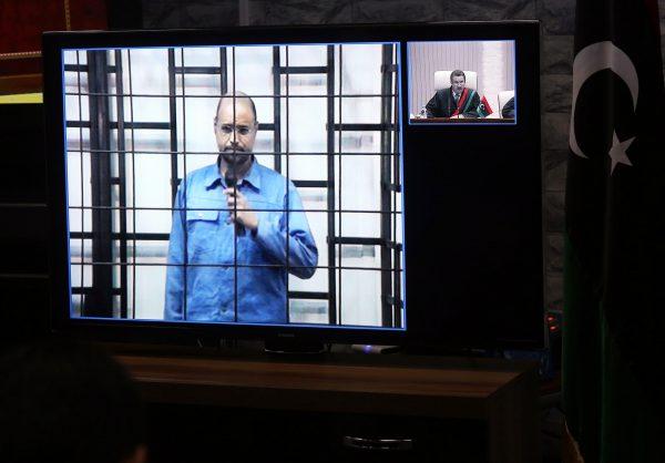 Le fils préféré de Kadhafi durant son procès, le 27avril 2014, à Zintan.