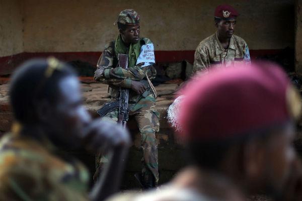 Des combattants de l'ex-Séléka, à Bambari en mai 2014.