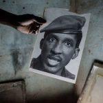 Détail d'une sérigraphie à l'effigie de Thomas Sankara.