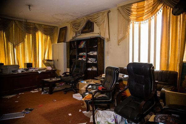 La salle où Thomas Sankara était en réunion avec des membres du CNR lorsque l'attaque a eu lieu.