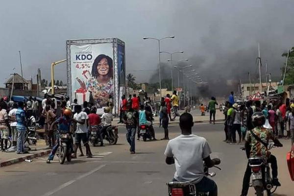 Une rue de Lomé lors de la manifestation du 18 octobre 2017.