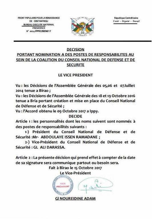 Communiqué diffusé par la « Coalition » regroupant notamment les groupes armés centrafricains FPRC et l'UPC, diffusé ce jeudi 19 octobre 2017.
