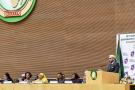 Le souverain chérifien Mohammed VI prononçant son émouvant discours, le 31janvier 2017, lors du 28esommet de l'Union africaine, à Addis-Abeba.