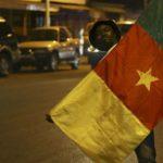 Un jeune homme tenant le drapeau du Cameroun.