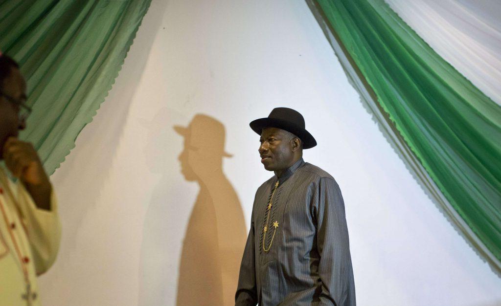 L'ancien président Goodluck Jonathan lors d'une réunion dans un hôtel d''Abuja, la capitale nigériane, en mars 2015.