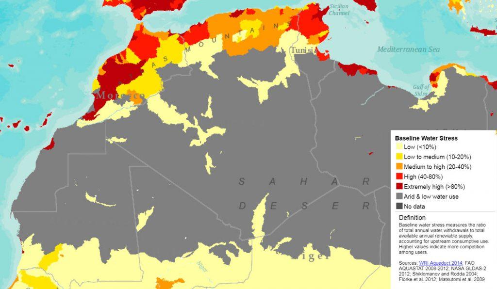 Zones touchées par le stress hydrique en 2010. Légende : graduations de la pénurie de l'eau de