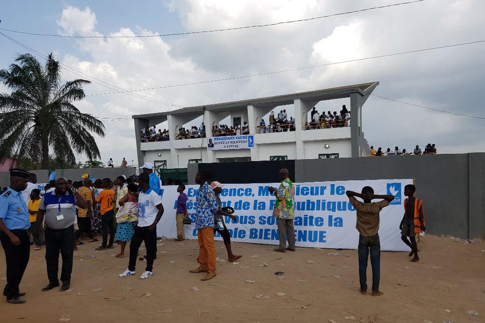 Vue de l'extérieur du congrès d'Unir, le parti de Faure Gnassingbé, dimanche 29 octobre 2017.