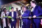 Ali Bongo Ondimba et Cyrille Bolloré lors de l'inauguration du nouveau port d'Owendo, le 14octobre.