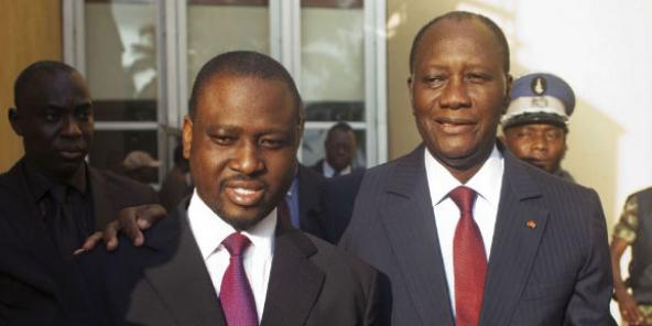 Guillaume Soro et Alassane Ouattara, en décembre 2010 à Abidjan.