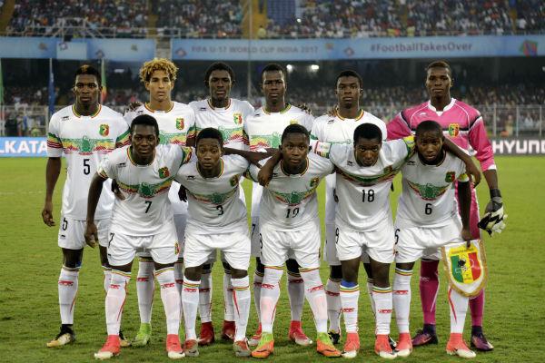 L'équipe de foot malienne à Kolkata, en Inde, le 28 octobre 2017.