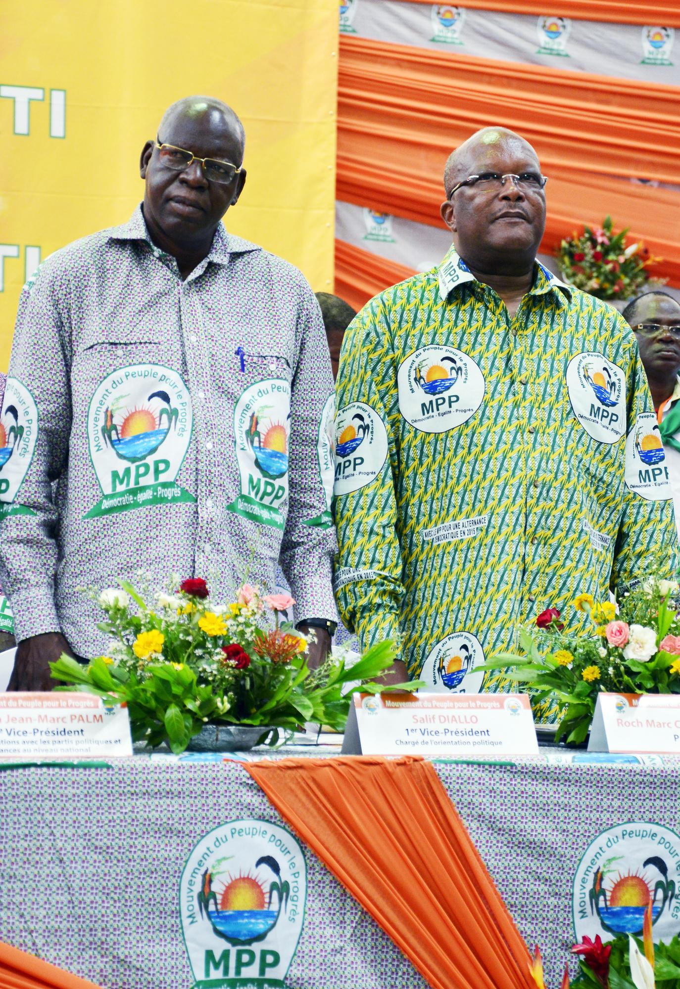 Salif Diallo et Roch Marc Christian Kaboré lors du premier congrès du MPP, en avril2014, à Ouagadougou.