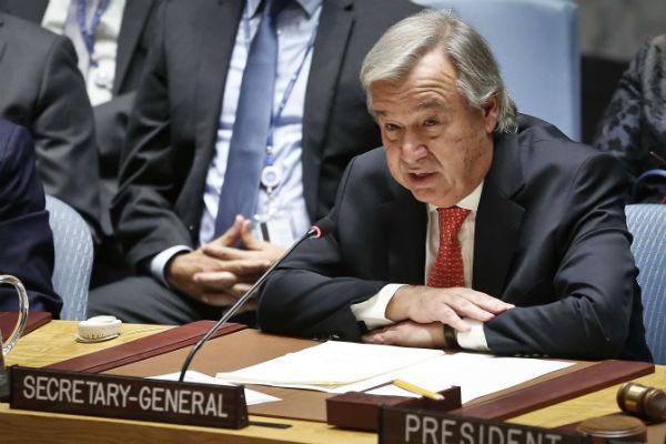 Le secrétaire général des Nations unies Antonio Guterres à New York le 28 septembre 2017.