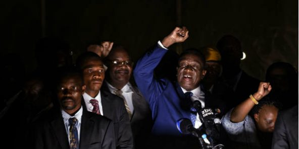 Emmerson Mnangagwa au quartier général de la Zanu-PF, à Harare, mercredi 22 novembre.