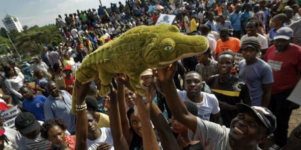Des partisans de Mnangagwa, surnommé