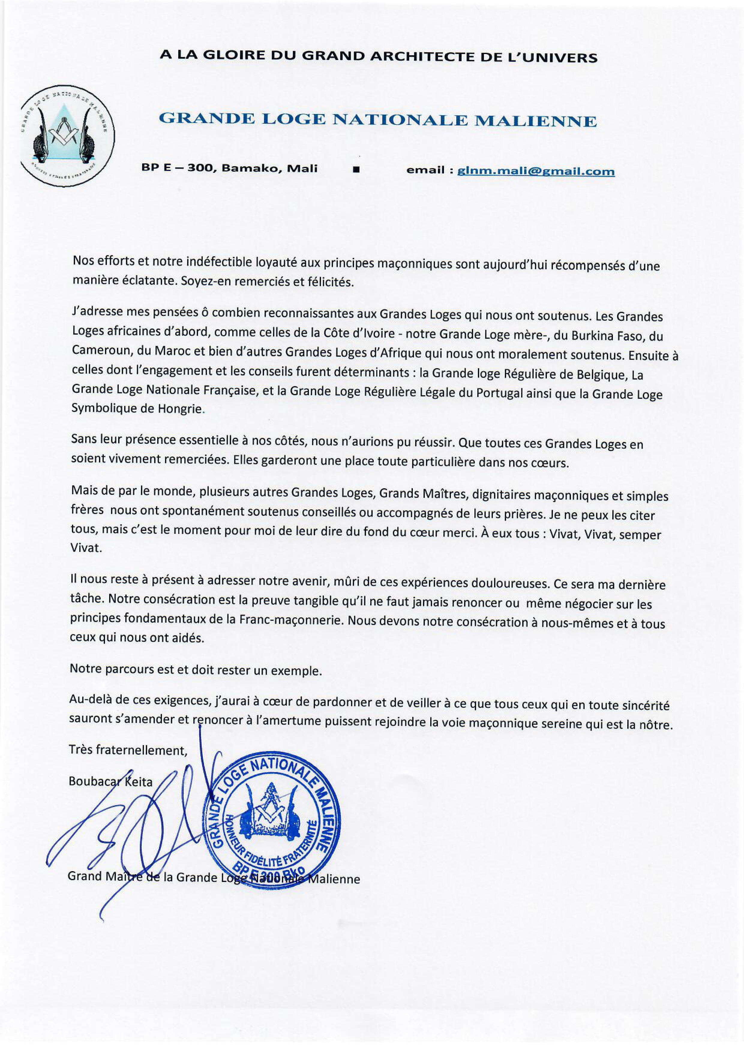 Le courrier de Boubacar à ses
