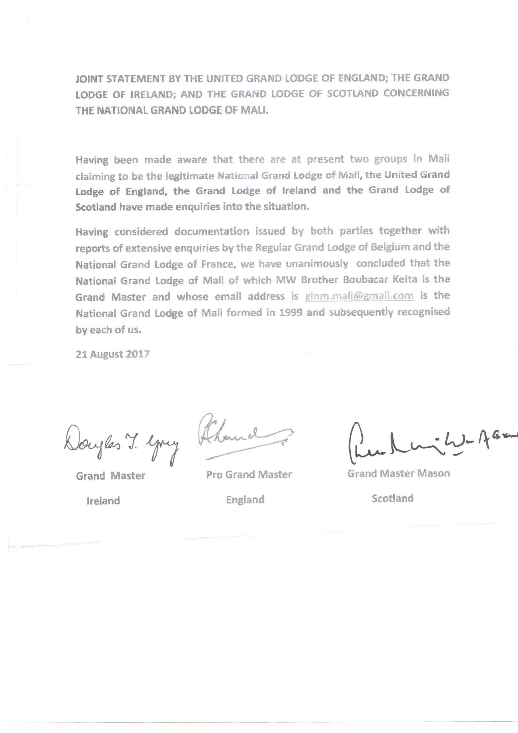 Communiqué de la grande loge d'Angleterre, d'Irlande et d'Ecosse reconnaissant Boubacar comme le Grand Maître de la GLNM, datant du 21 août 2017.