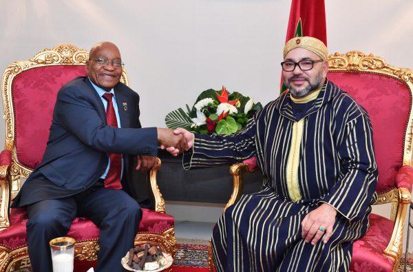 Jacob Zuma et Mohammed VI, à Abidjan, le 29novembre.