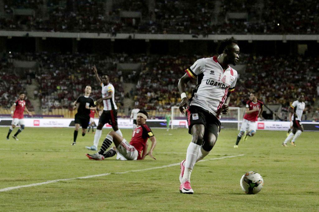 L'Ougandais Denis Onyango, durant le match face à l'Égypte, le 5 septembre 2017 à Alexandrie.