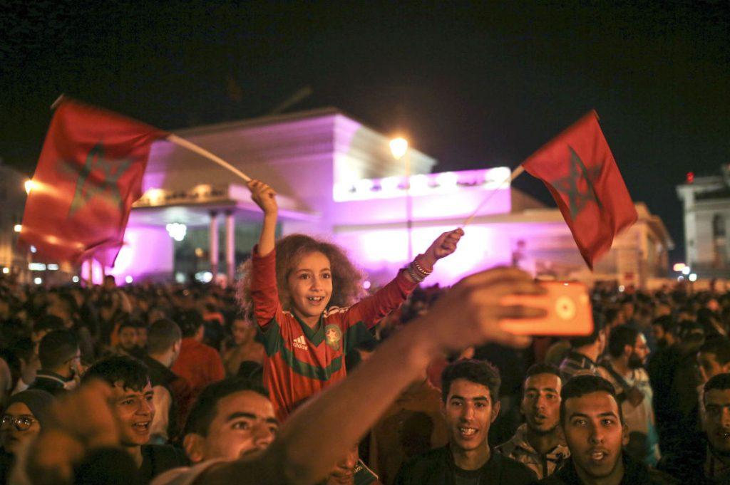 Lors des célébrations de la victoire du Maroc face à la Côte d'Ivoire, le 11 novembre 2017.