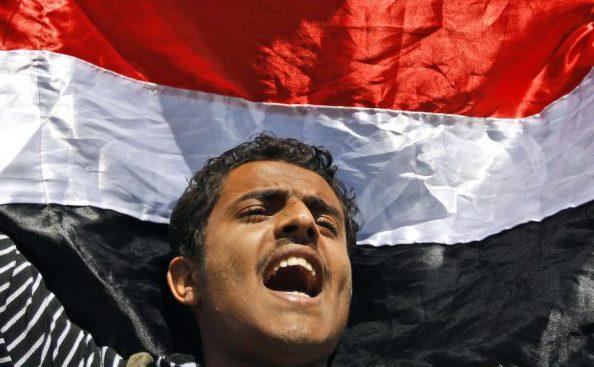 Manifestation anti-gouvernementale à Saana au Yémen en février 2011, au début du Printemps Arabe.