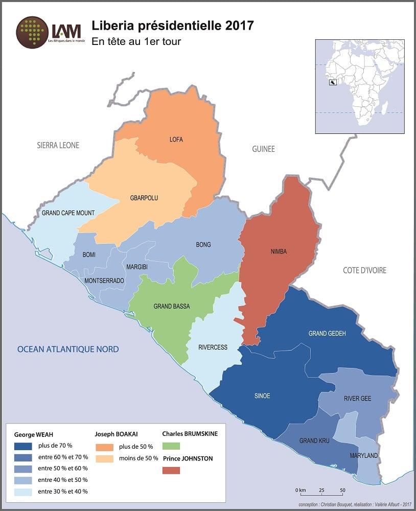 Carte : premier tour des présidentielles 2017 au Liberia