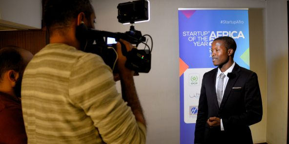 Éloi Hermann Monkam lors du concours Start-up of the year Africa 2018.