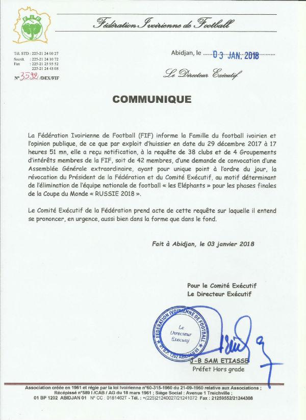 Communiqué de la FIF sur la demande d'assemblée générale.