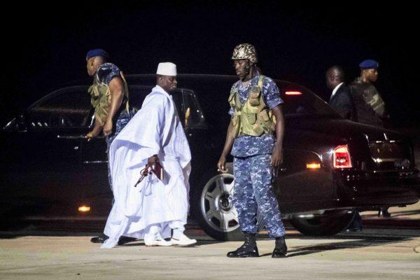 Départ de Yahya Jammeh pour la Guinée équatoriale, janvier2017.