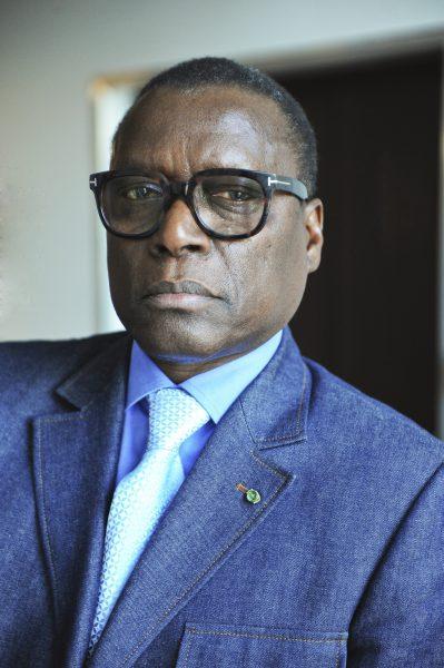 Pierre Goudiaby Atépa, architecte, homme d'affaires sénégalais, président du Conseil d'administration de la Bourse Régionale des Valeurs Mobilières d'Abidjan le 2 juin 2017.