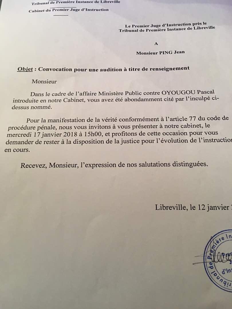 Convocation reçue par Jean Ping le 12 janvier 2018.