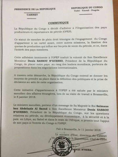 Le communiqué de la présidence congolaise