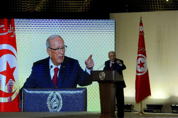 Le président tunisien Beji Caid Essebsi, lors d'un discours à Tunis le 10 septembre 2017.