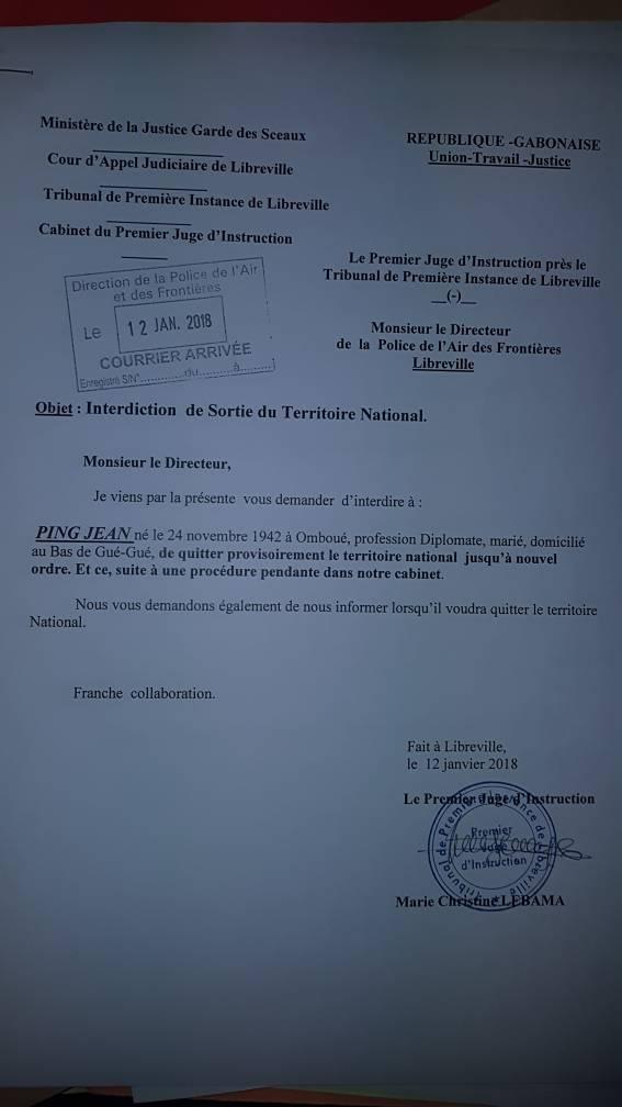 Interdiction de territoire concernant Jean Ping, le 12 janvier 2018.
