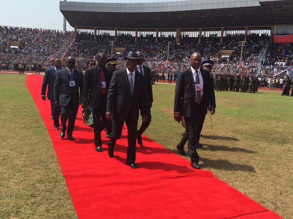 Le président ivoirien Alassane Ouattara, lors de l'investiture de George Weah, à Monrovia.
