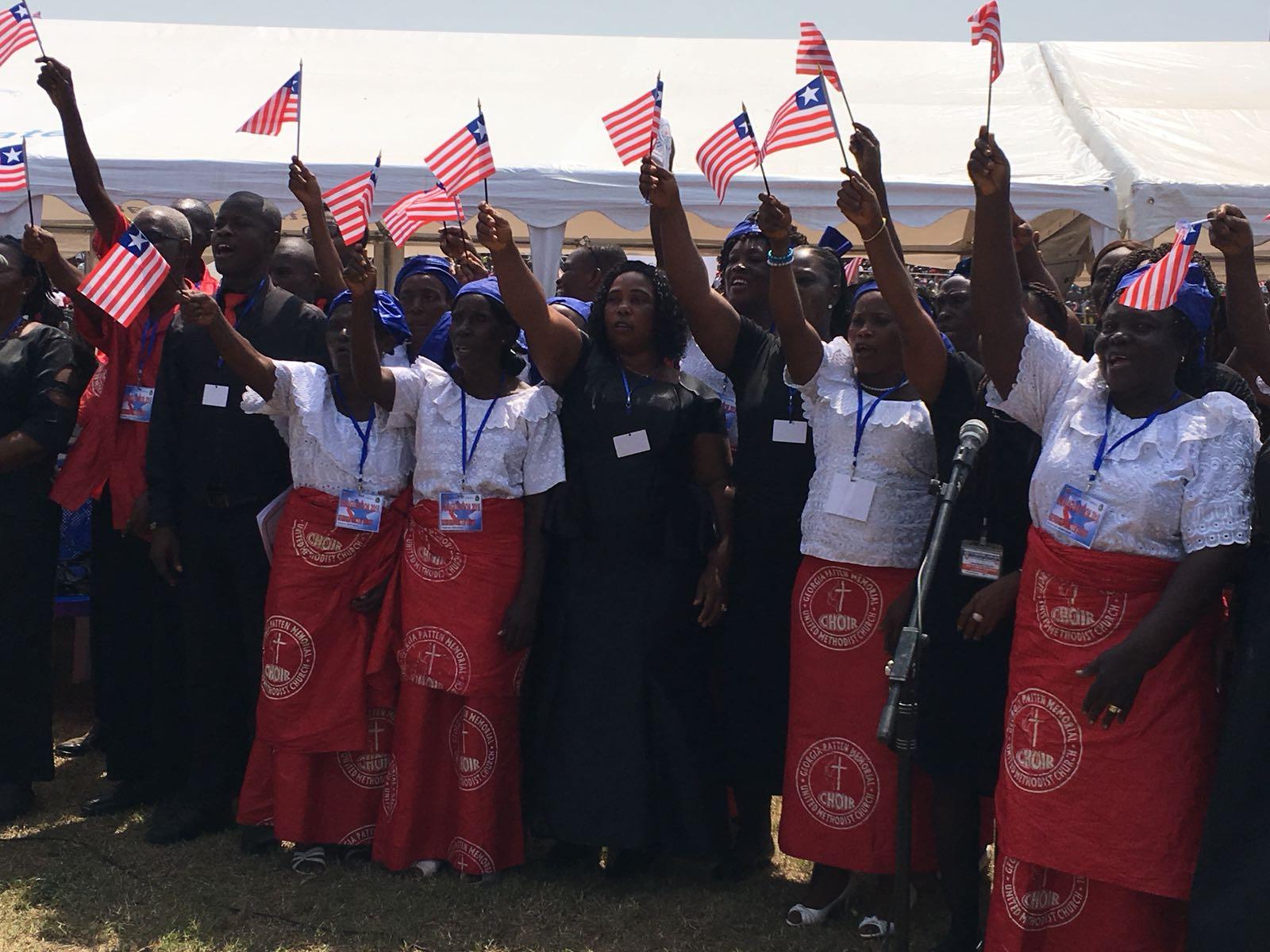 Lors de la cérémonie d'investiture de Geroge Weah à Monrovia, lundi 22 janvier 2017.