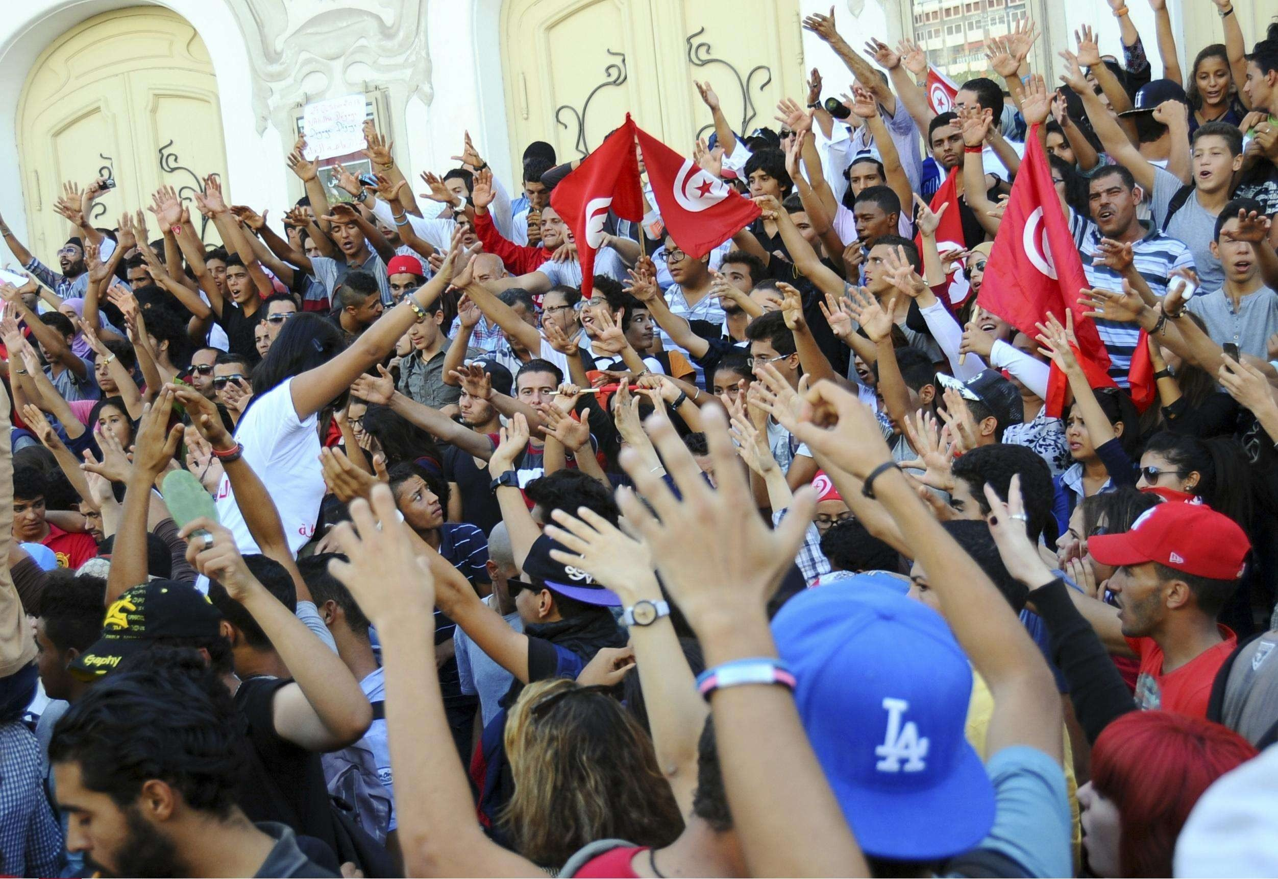 Une manifestation à Tunis, le 23 octobre 2013, appelant à la démission du gouvernement (image d'illustration).
