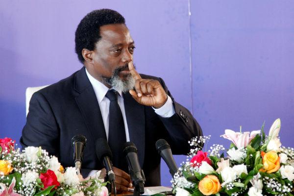 Joseph Kabila, lors d'une conférence de presse à Kinshasa le vendredi 26 janvier 2018.