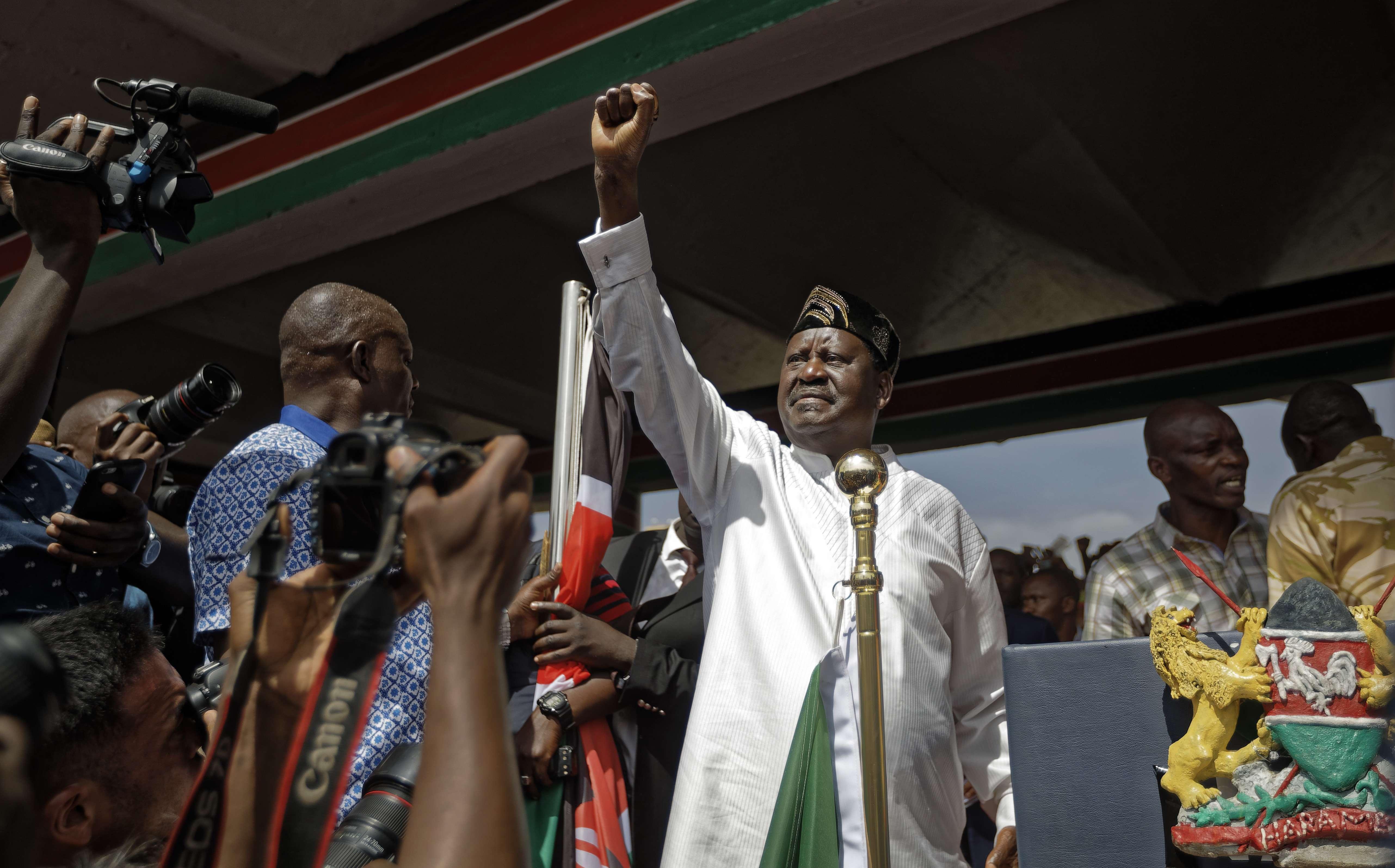 Raila Odinga, chef de l'opposition, le 30 janvier 2018 au Kenya.