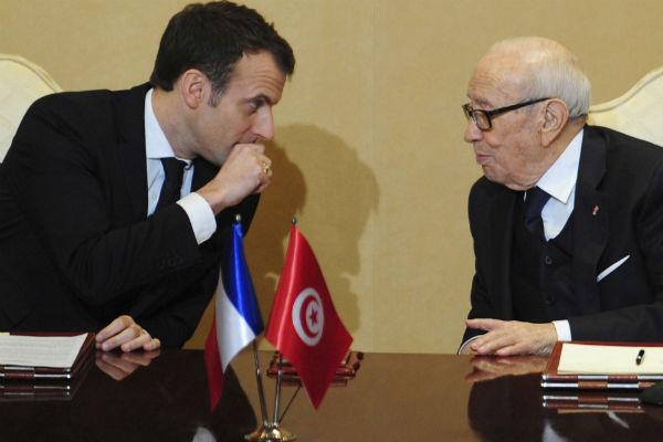 Emmanuel Macron et Béji Caïd Essebsi, à Tunis lors de la visite du président français, le 31 janvier 2018.