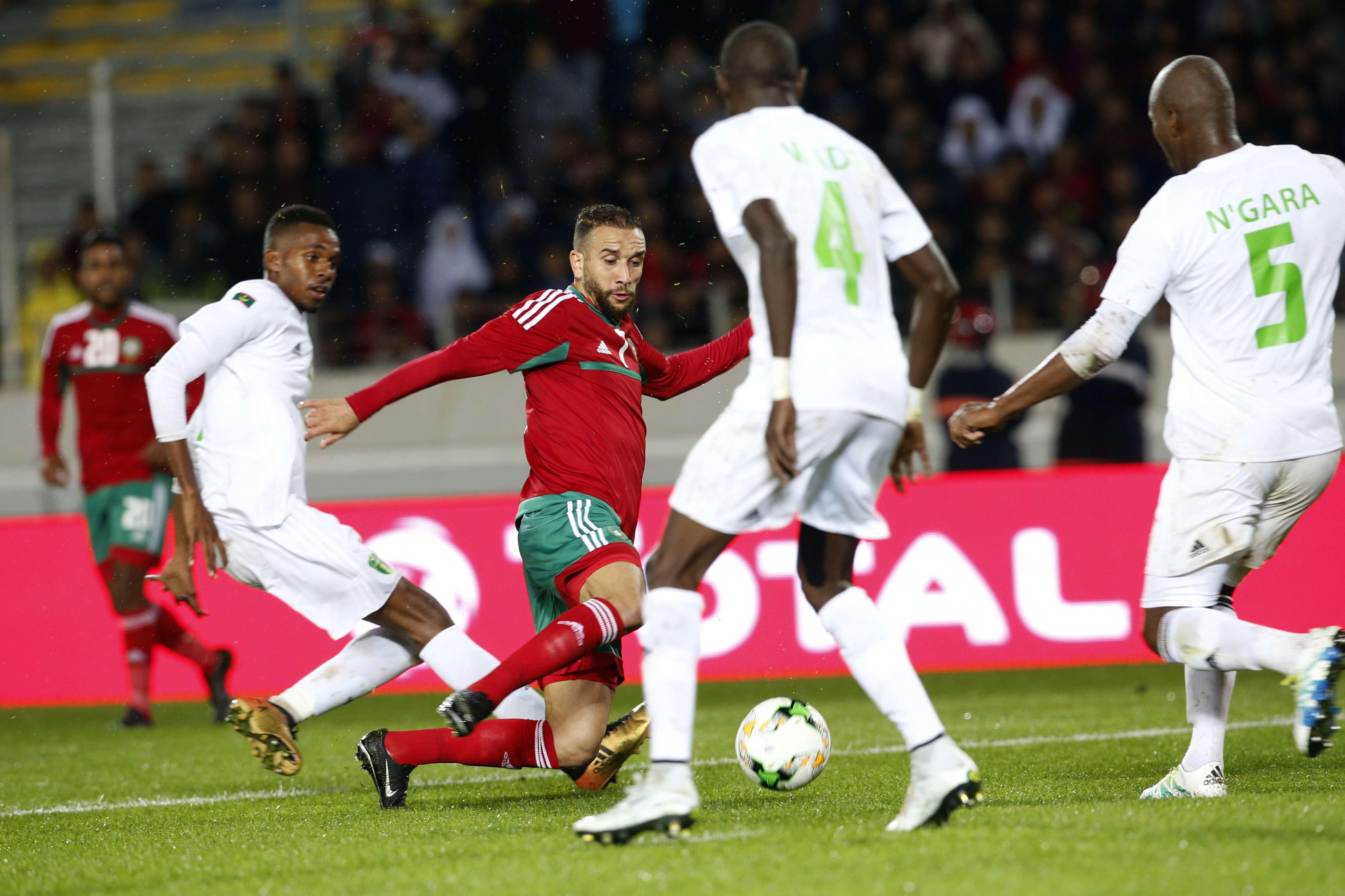 L'équipe de football marocaine affronte la Mauritanie, le 13 janvier 2018.