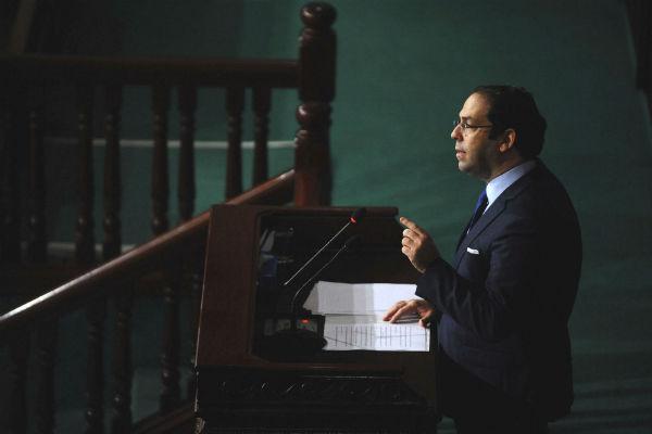 Youssef Chahed, chef du gouvernement tunisien, devant l'Assemblée des représentants du peuple.