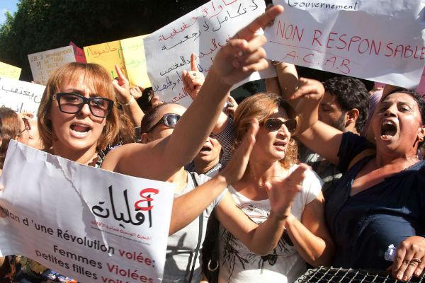 Manifestations de femmes, à Tunis en 2012.