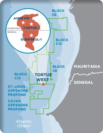 La carte du champ gazier « Grand Tortue-Ahmeyim » entre la Mauritanie et le Sénégal