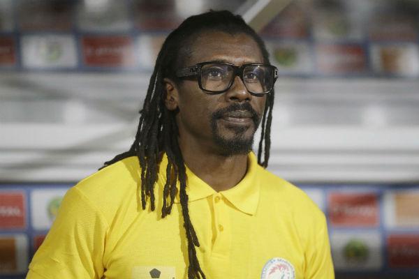 Aliou Cissé, le sélectionneur de l'équipe nationale de football du Sénégal, lors de la CAN 2017 à Libreville.