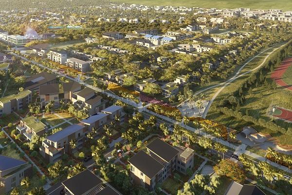 Vue aérienne de la smart city