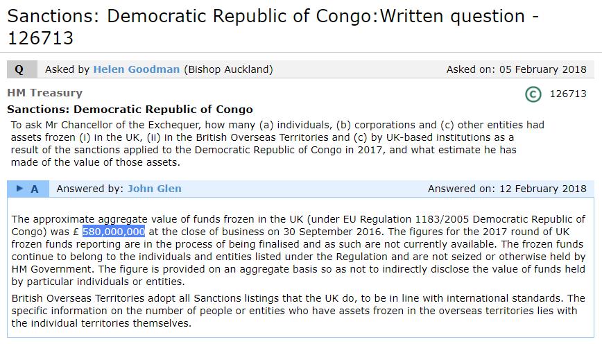 Copie d'écran du site du Parlement britannique., le 14 février 2018., mentionnant un montant surévalué des avoirs gelés au titre des sanctions européennes en RDC.